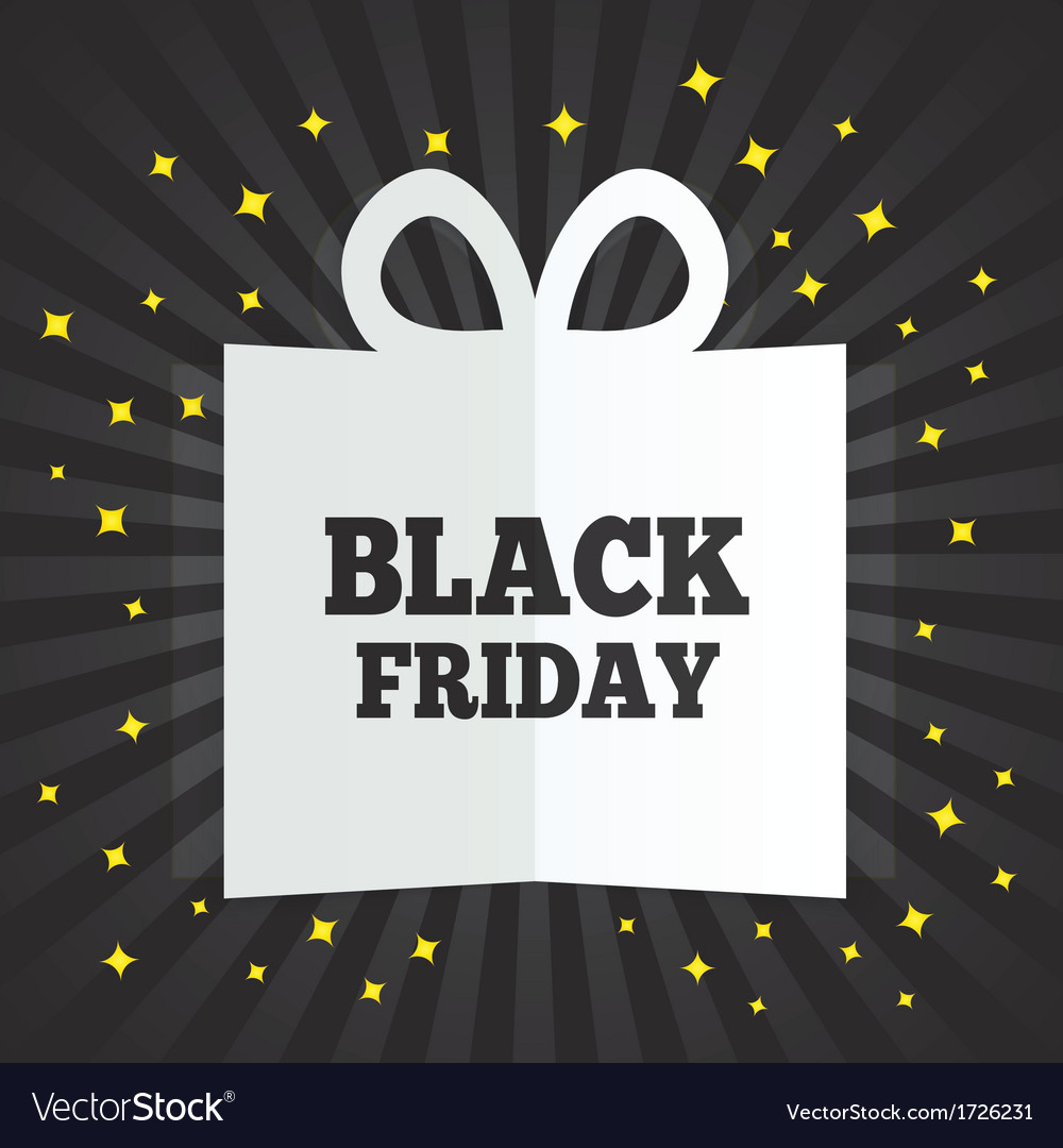 Black friday sale box cut the paper yellow stars vector | Price: 1 Credit (USD $1)