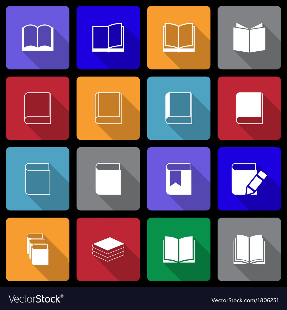 Book icon set wiht long shadow vector | Price: 1 Credit (USD $1)