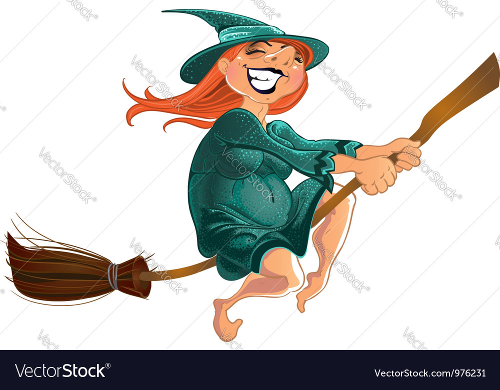 Cheerful witch on the broom vector | Price: 3 Credit (USD $3)