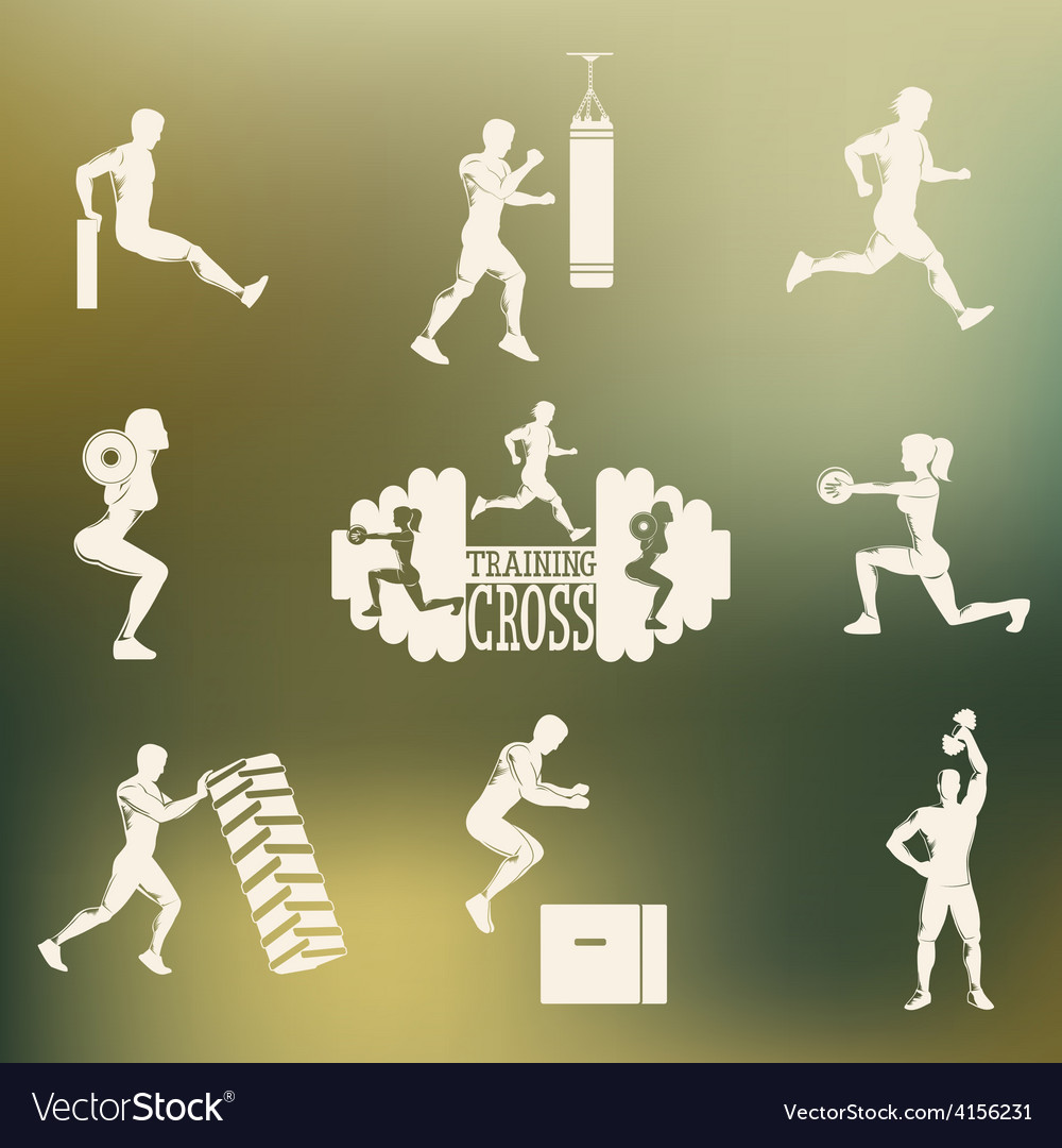 Cross fitness silhouettes vector | Price: 1 Credit (USD $1)
