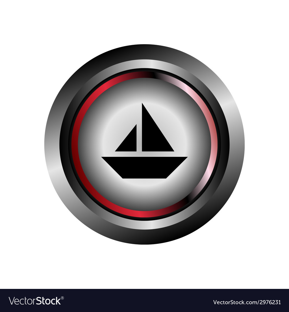 Glossy sail boat sign button vector | Price: 1 Credit (USD $1)