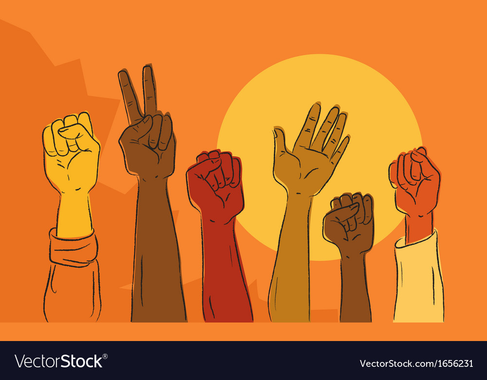 Hands rising in political protest vector | Price: 1 Credit (USD $1)