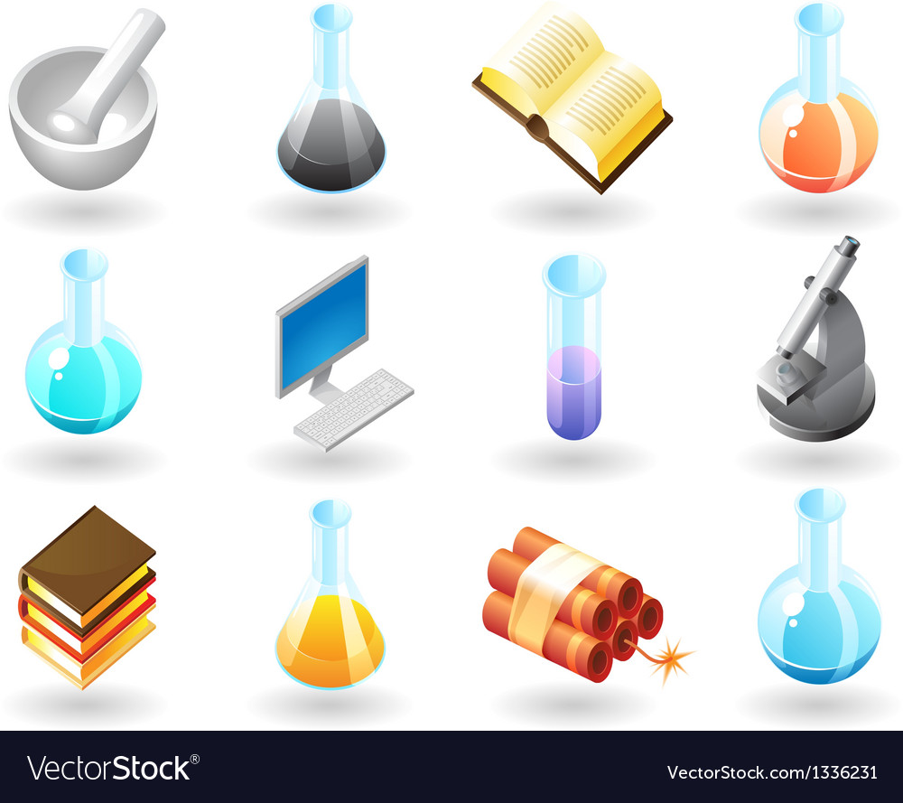Isometric-style icons for chemistry vector | Price: 1 Credit (USD $1)