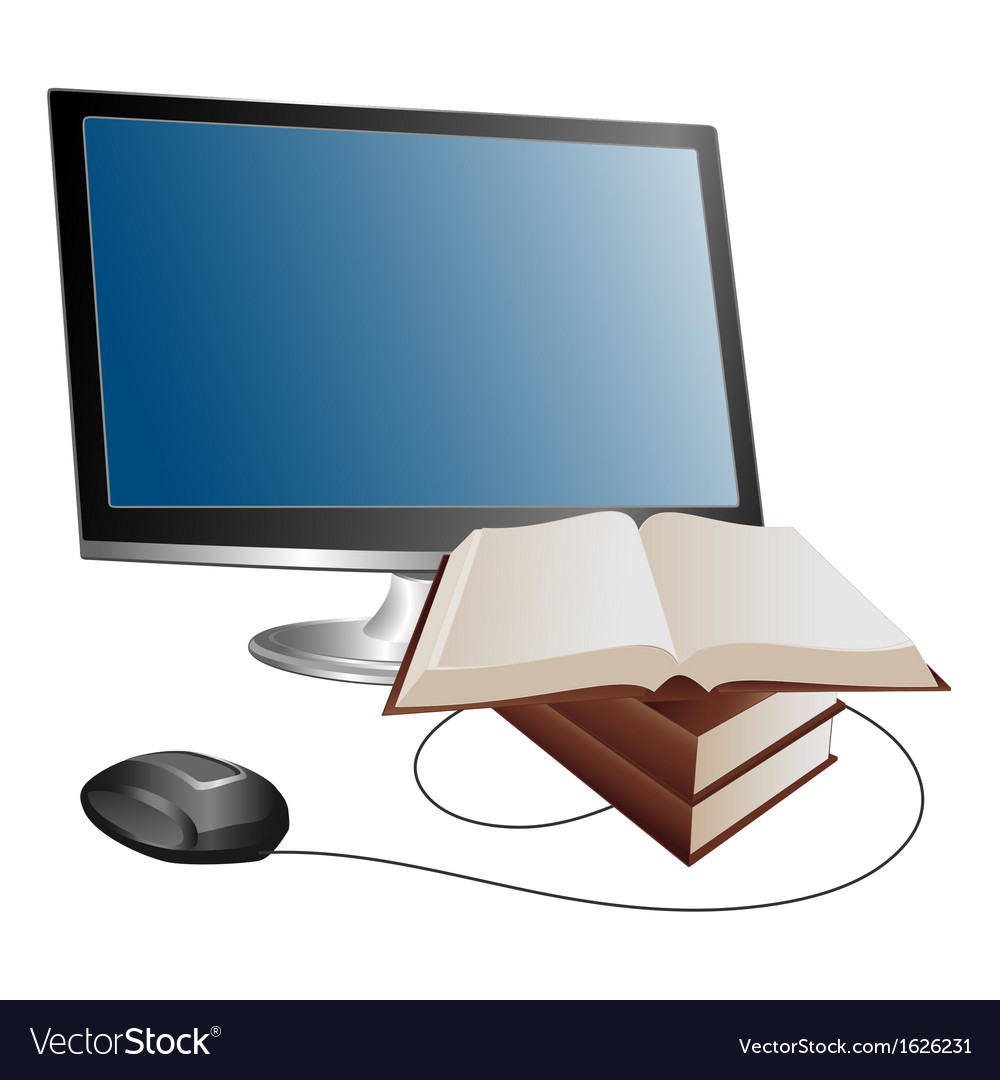Monitor and books vector | Price: 1 Credit (USD $1)
