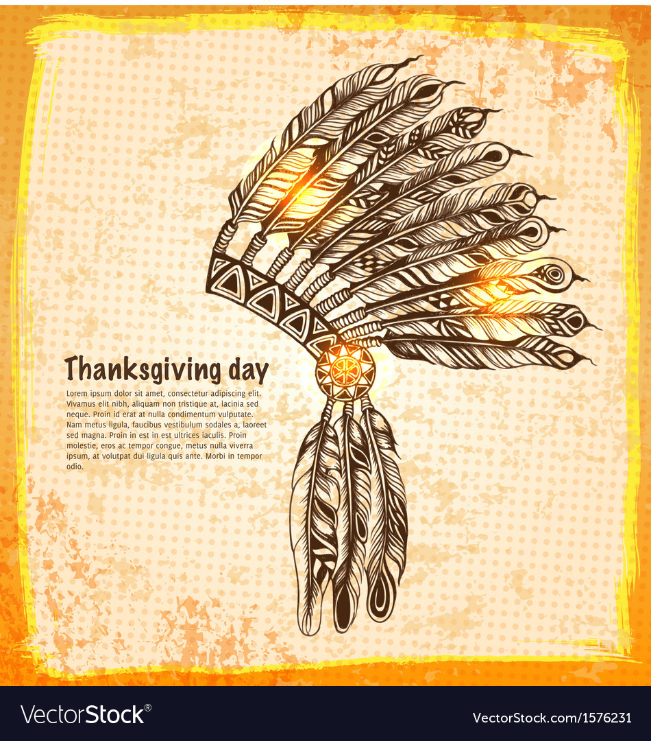 Native american indian headdress with feathers vector | Price: 1 Credit (USD $1)