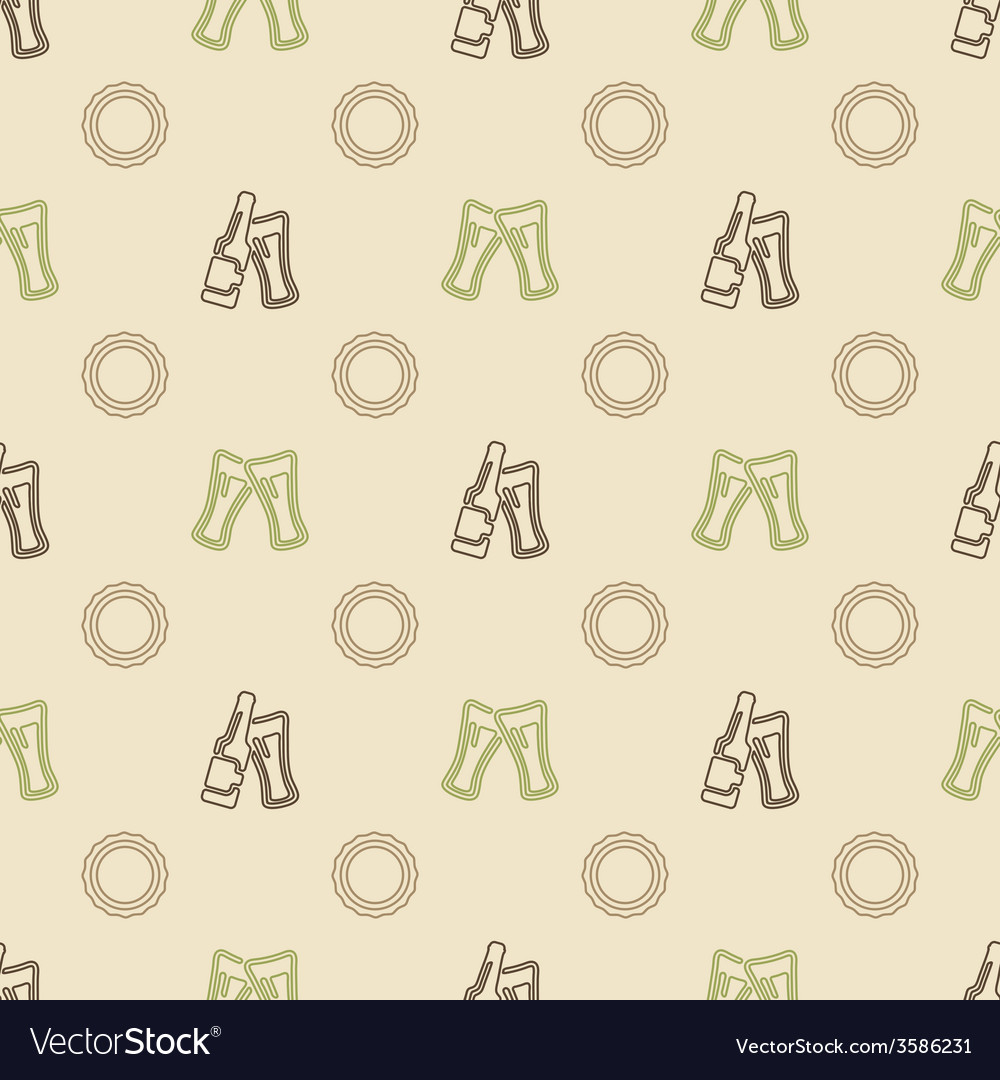 Pattern made with beer bottles caps and glasses vector | Price: 1 Credit (USD $1)