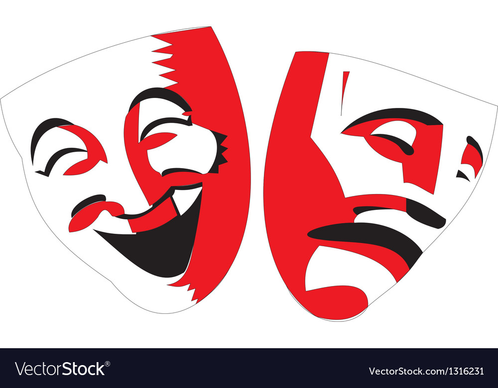 Red and black theater masks on white background vector | Price: 1 Credit (USD $1)