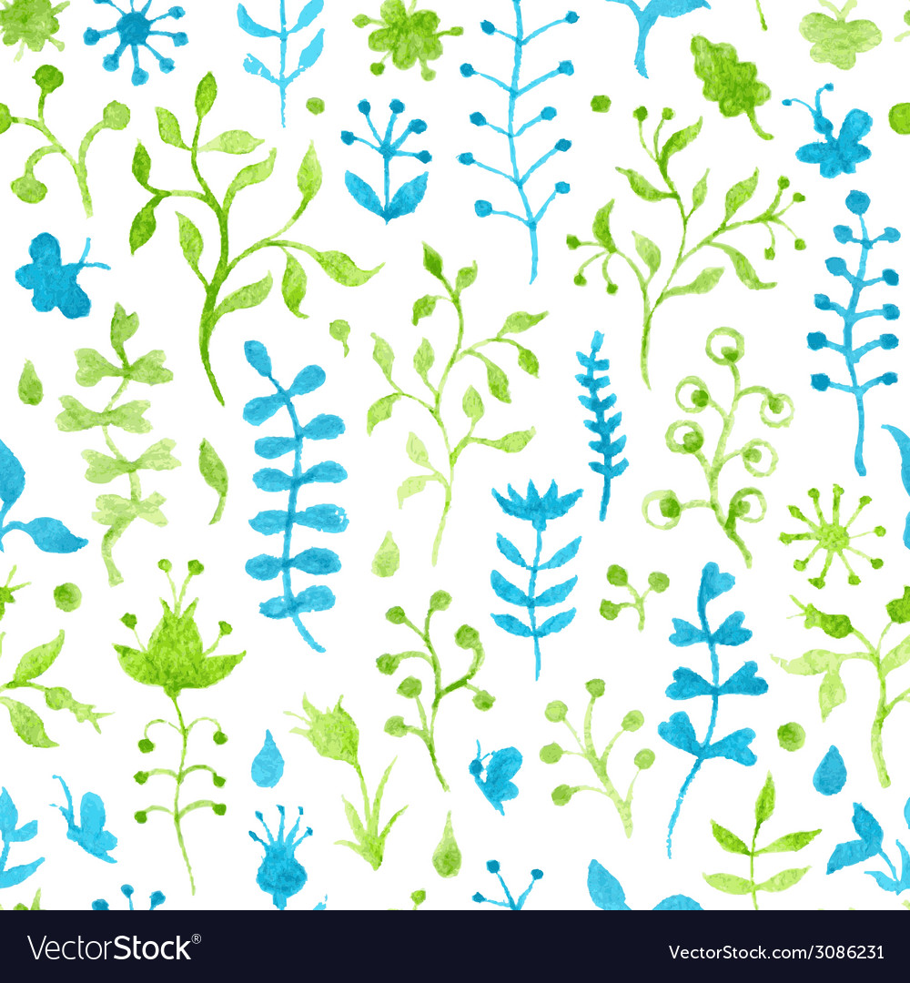 Seamless watercolor grass pattern vector | Price: 1 Credit (USD $1)