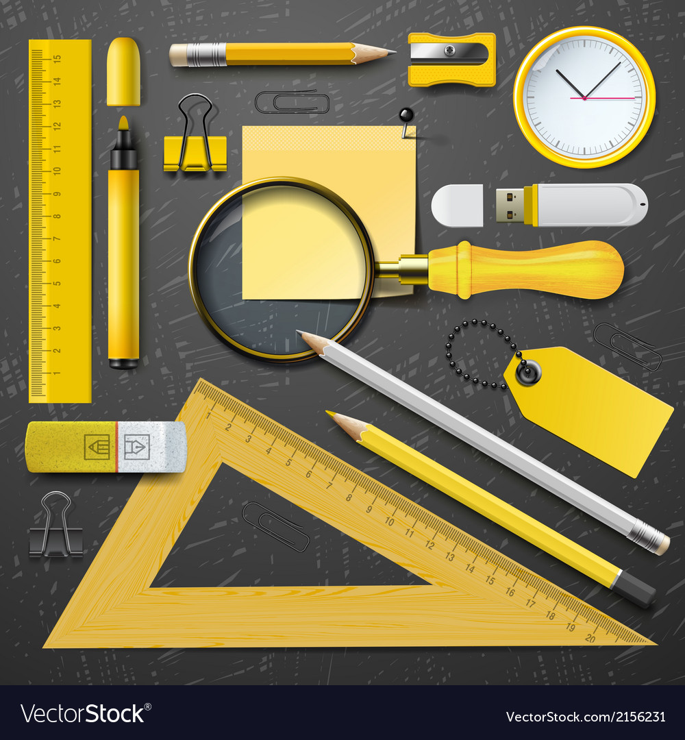 Yellow school supplies vector | Price: 1 Credit (USD $1)