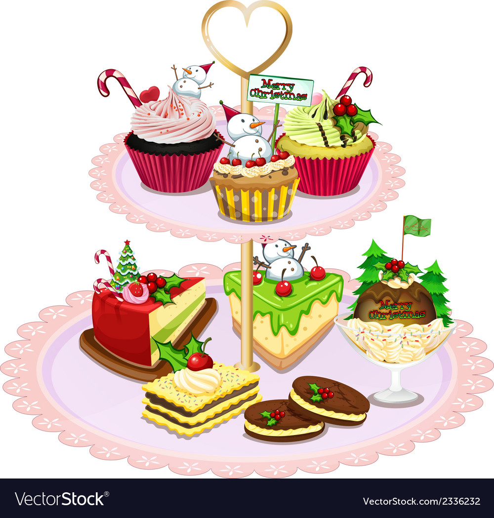 A tray with different baked goods vector | Price: 1 Credit (USD $1)
