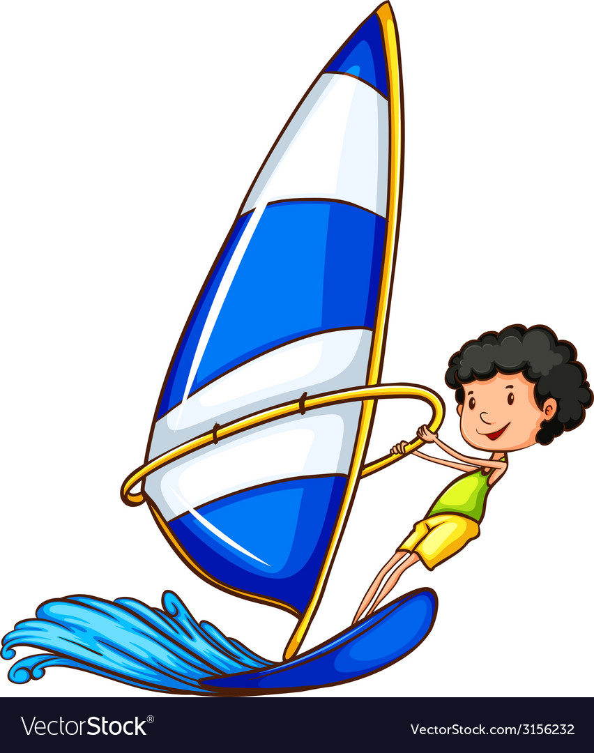 A young boy enjoying the watersport activity vector | Price: 1 Credit (USD $1)