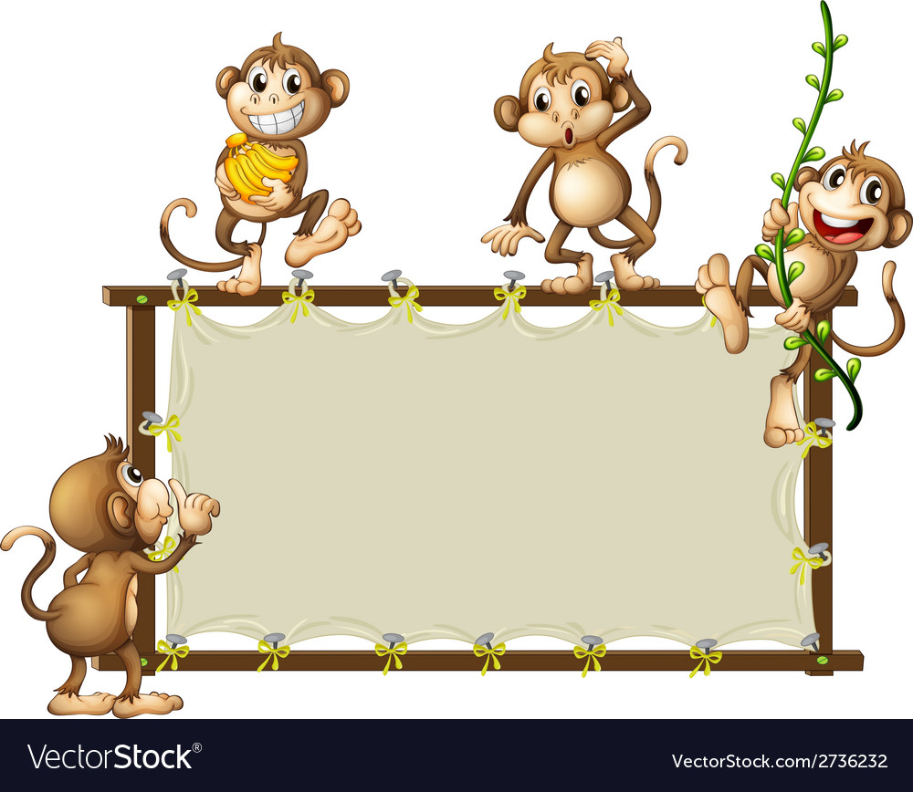 An empty banner with monkeys vector | Price: 1 Credit (USD $1)