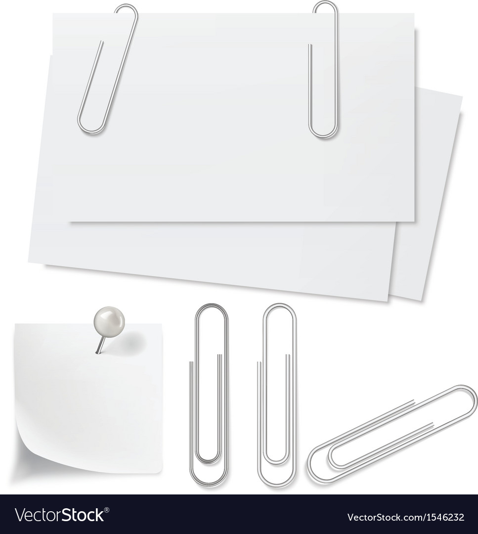 Blanks white paper pin and clip vector | Price: 1 Credit (USD $1)