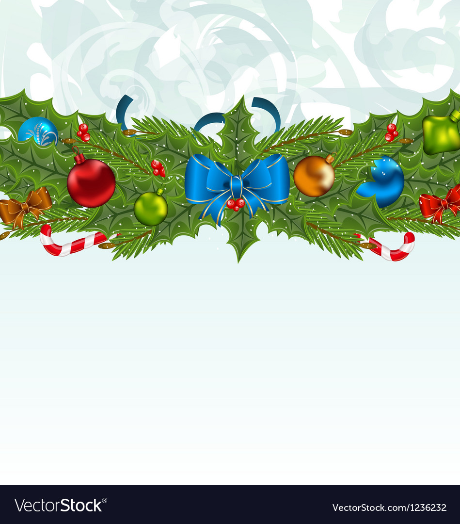 Christmas background with holiday decoration vector | Price: 1 Credit (USD $1)