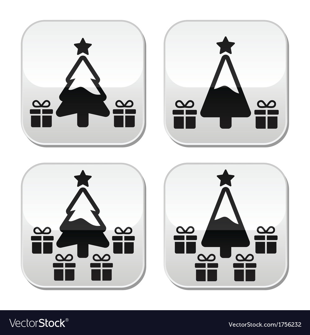 Christmas tree with presents buttons set vector | Price: 1 Credit (USD $1)