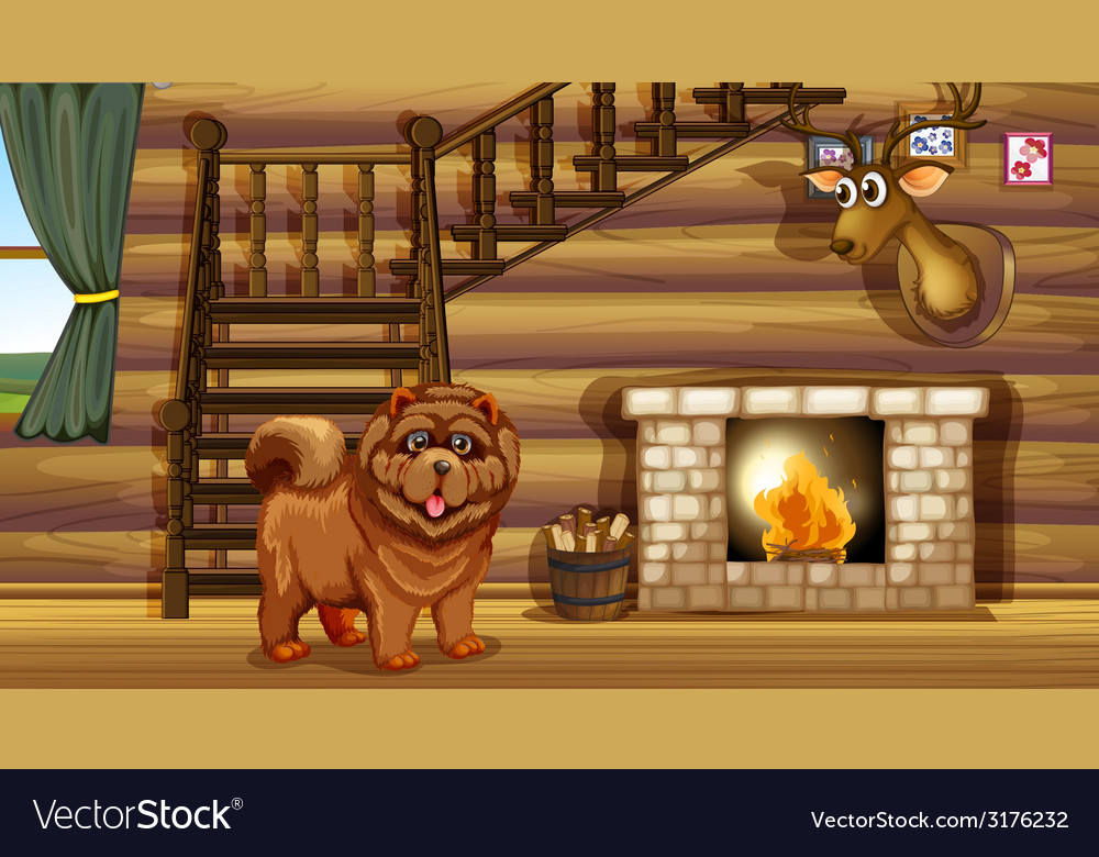 Dog and fireplace vector   Price: 1 Credit (USD $1)