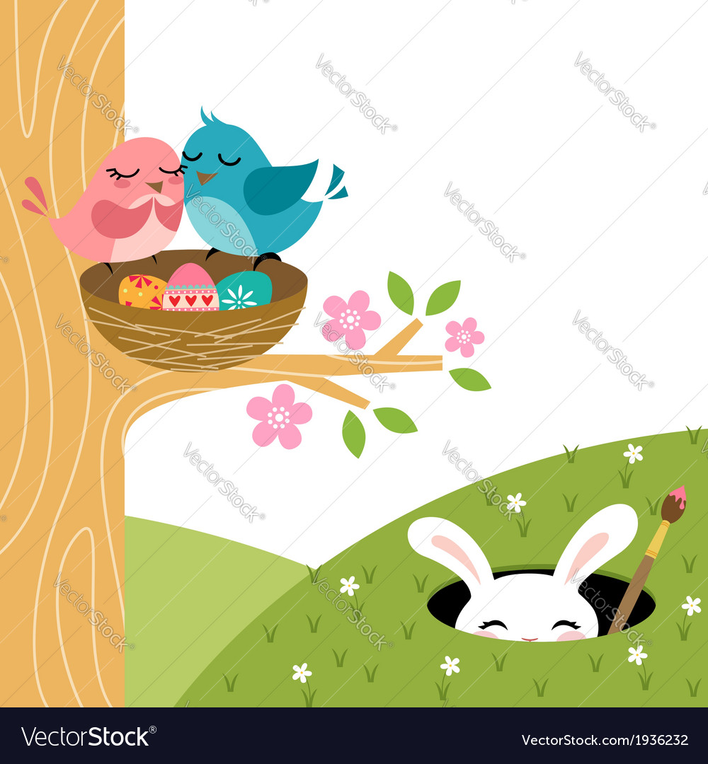 Easter couple of birds vector | Price: 1 Credit (USD $1)