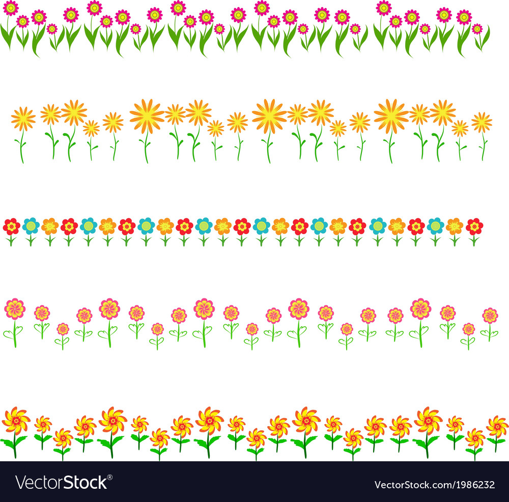 Flowers frame isolated on white background vector | Price: 1 Credit (USD $1)