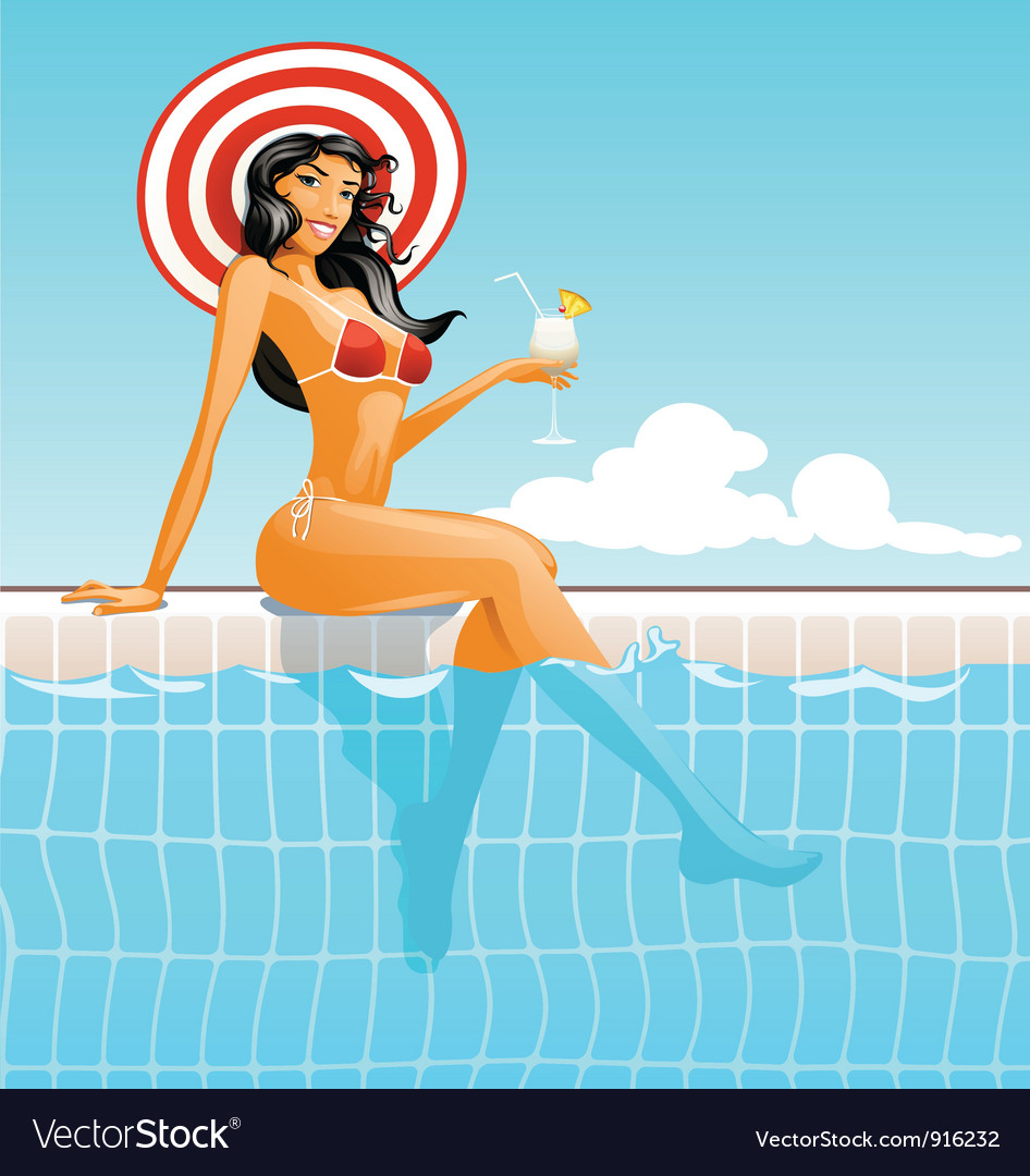 Girl in swimming pool vector | Price: 5 Credit (USD $5)
