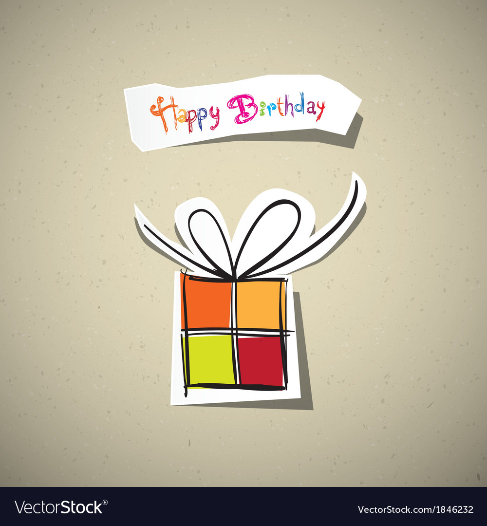 Happy birthday card present box cut from paper on vector | Price: 1 Credit (USD $1)