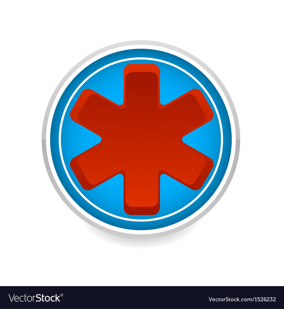 Medic symbol red color on the blue circle vector | Price: 1 Credit (USD $1)