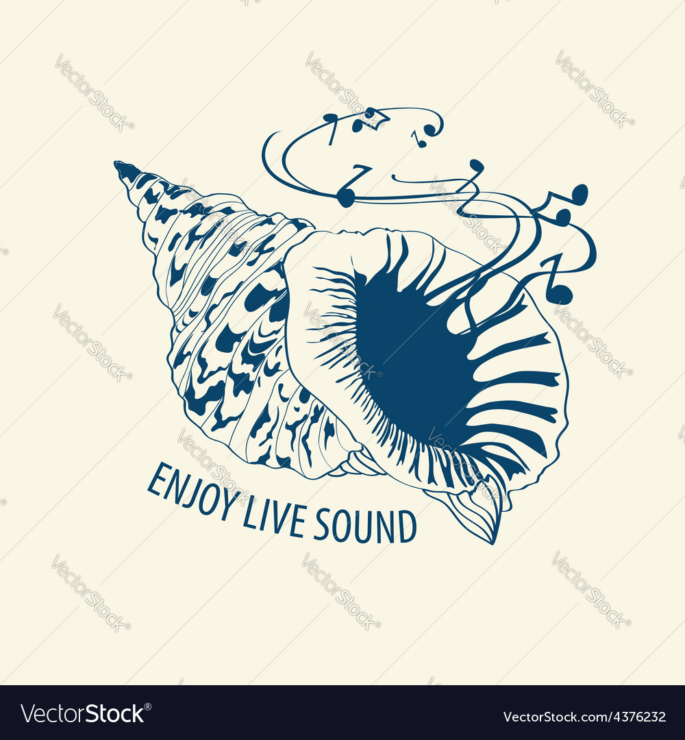 Musical with seashell vector | Price: 1 Credit (USD $1)