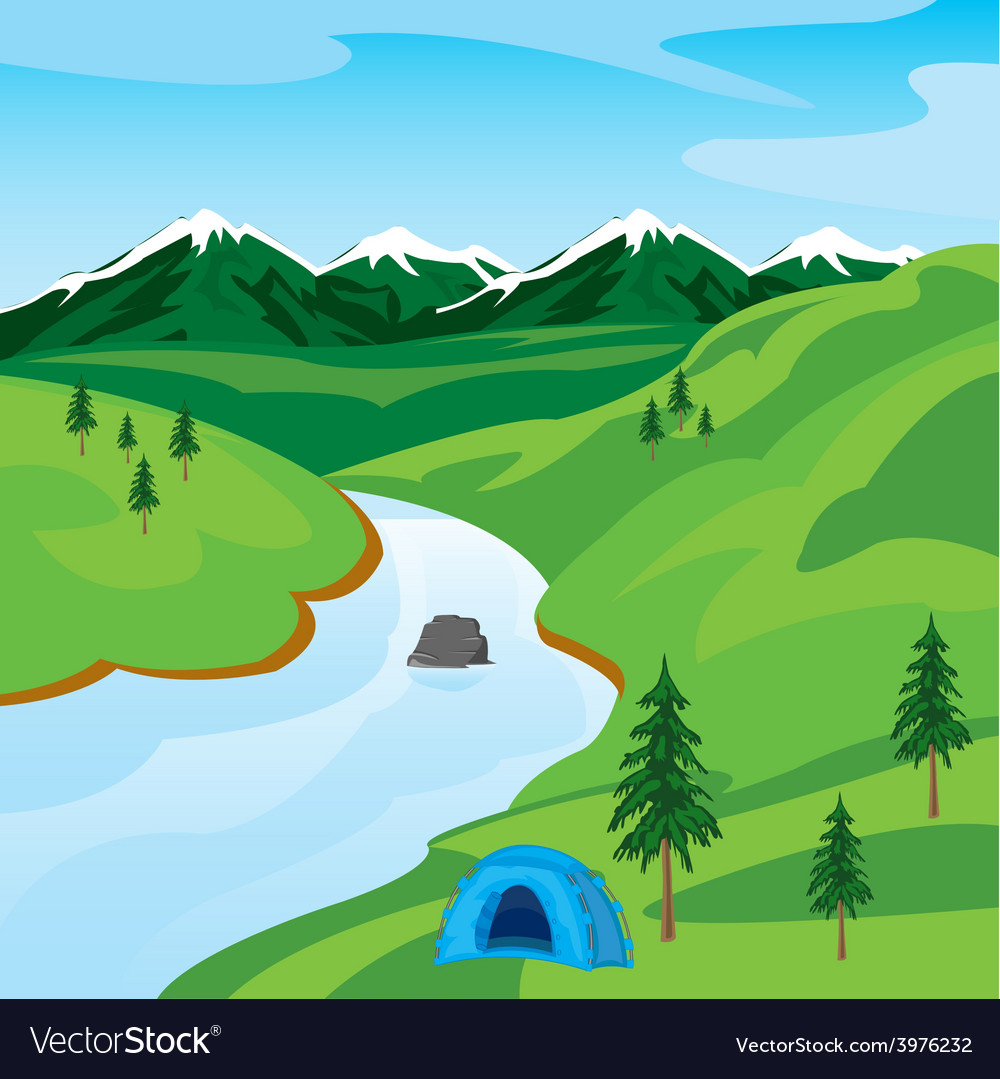 River in mountain vector | Price: 1 Credit (USD $1)