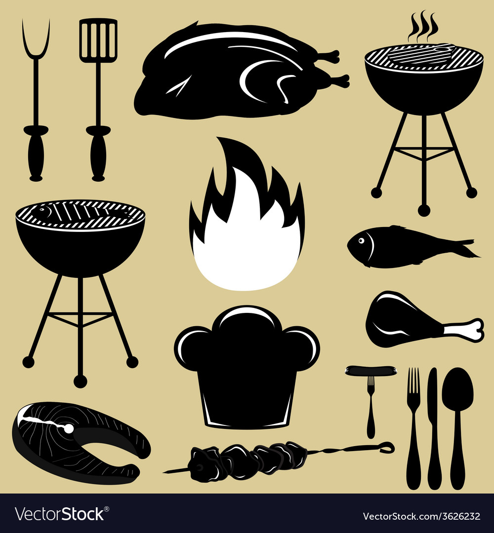 Set icons barbecue grill vector | Price: 1 Credit (USD $1)