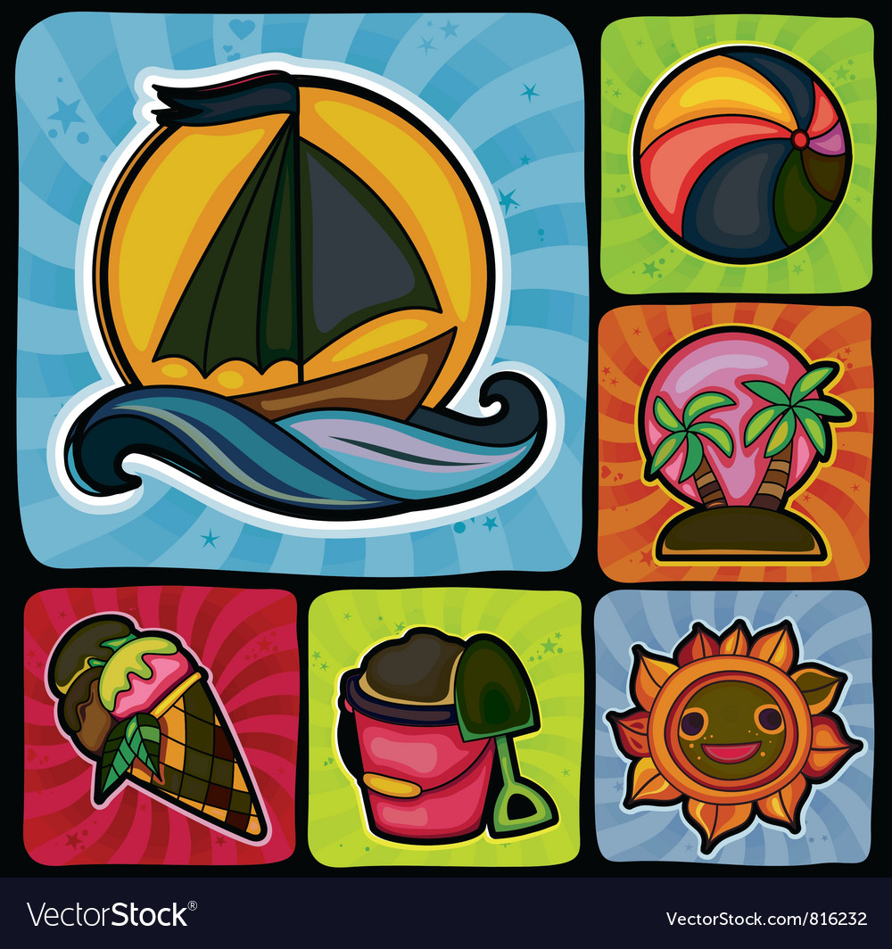 Set of 6 summer and beach icons vector | Price: 3 Credit (USD $3)