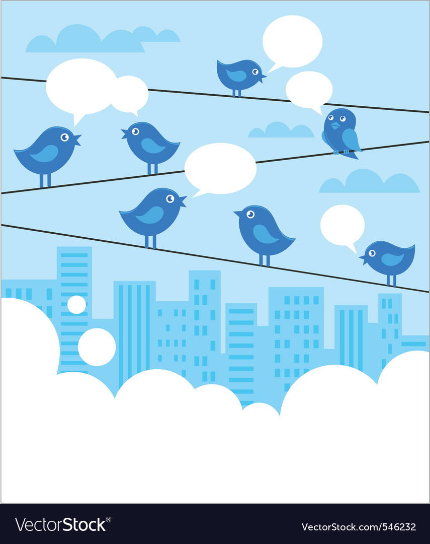 Social network background with blue birds vector | Price: 1 Credit (USD $1)