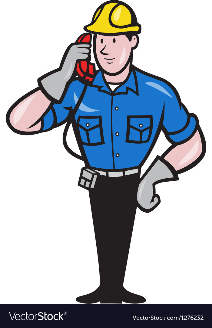 Telephone repairman lineman worker phone vector | Price: 1 Credit (USD $1)