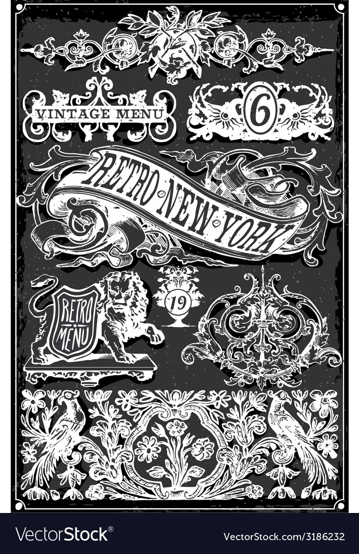 Vintage blackboard hand drawn banners and labels vector | Price: 3 Credit (USD $3)
