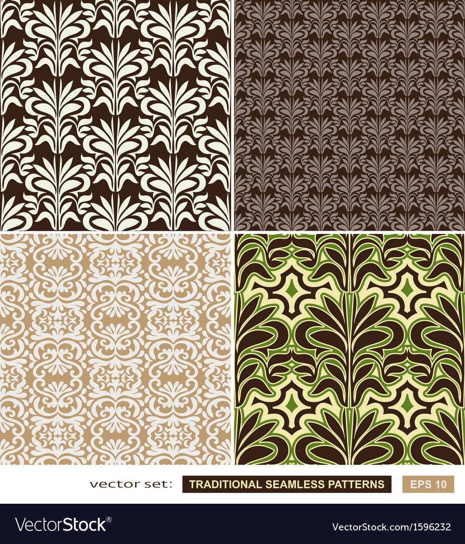 Vintage ornamental backgrounds set - brown green vector | Price: 1 Credit (USD $1)