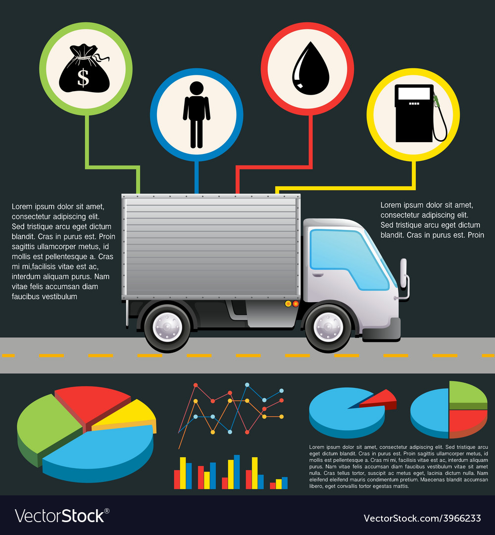 An infochart of a delivery van vector | Price: 1 Credit (USD $1)