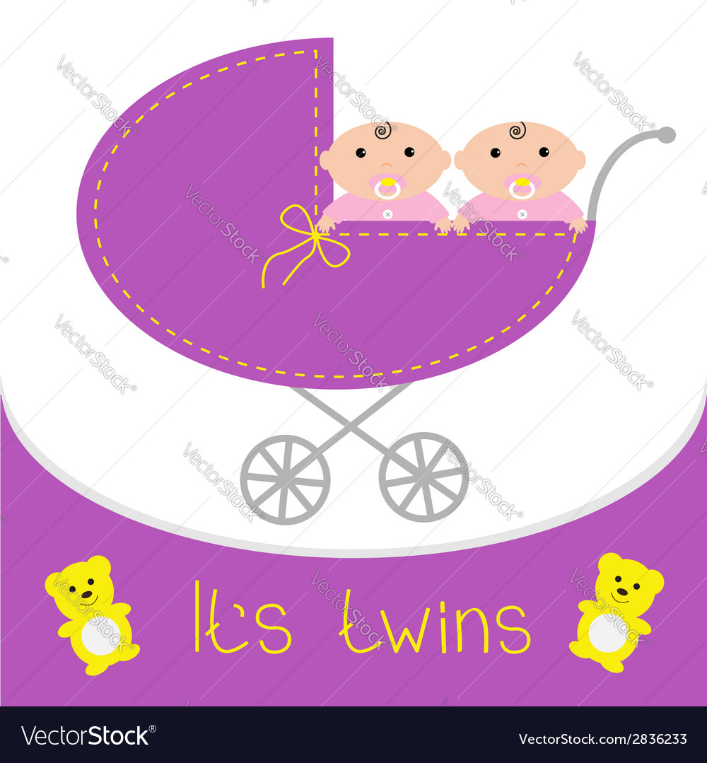 Baby carriage its twins girls shower card flat des vector | Price: 1 Credit (USD $1)
