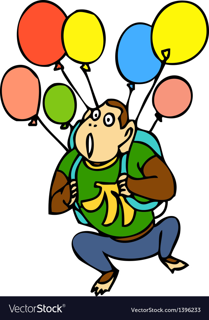Balloons with monkey vector | Price: 1 Credit (USD $1)