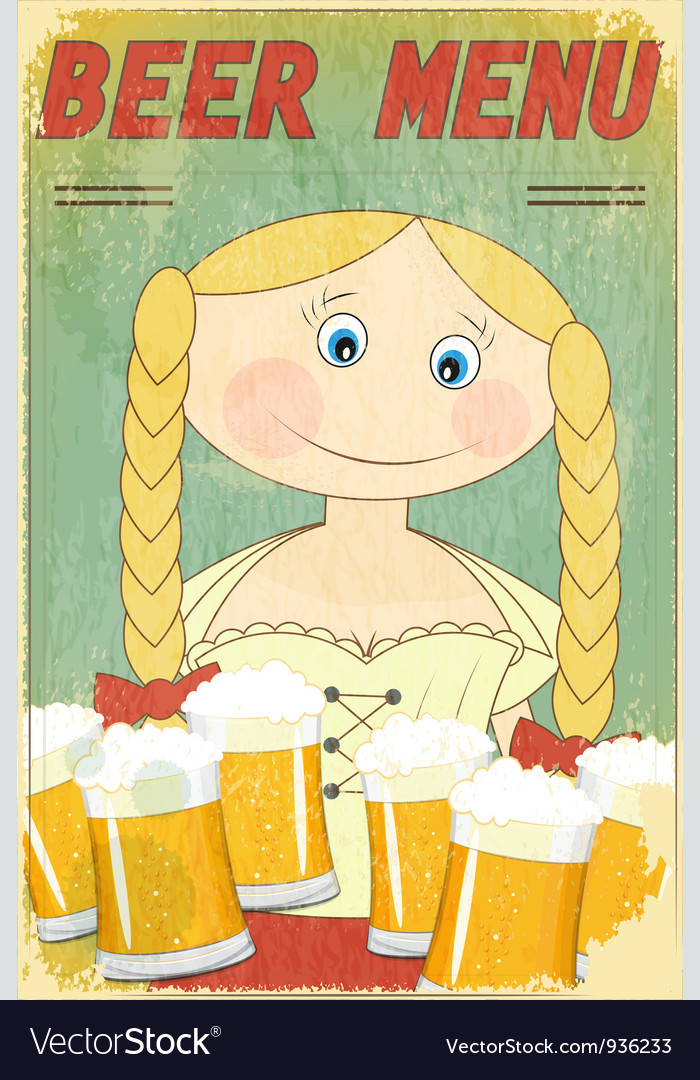 Beer retro card - blond girl with beer vector | Price: 3 Credit (USD $3)