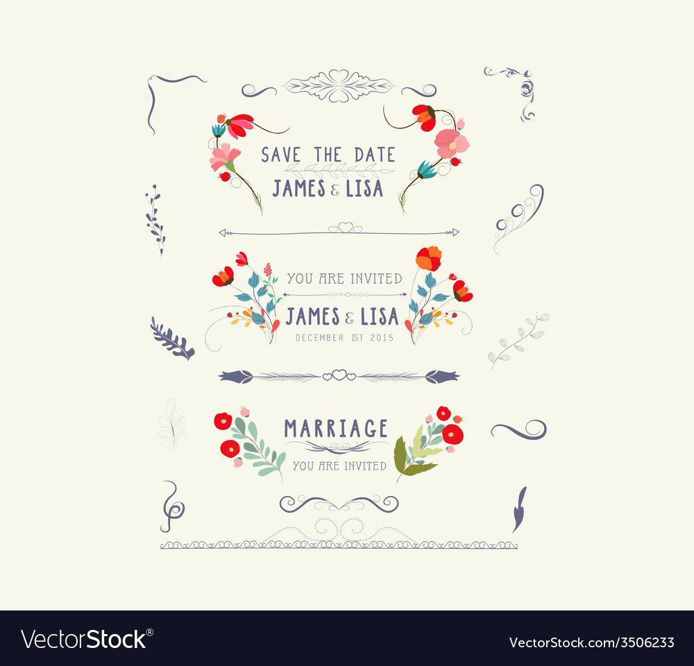 Editable wedding floral vintage design vector | Price: 1 Credit (USD $1)