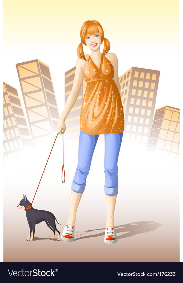 Girl with dog vector | Price: 5 Credit (USD $5)