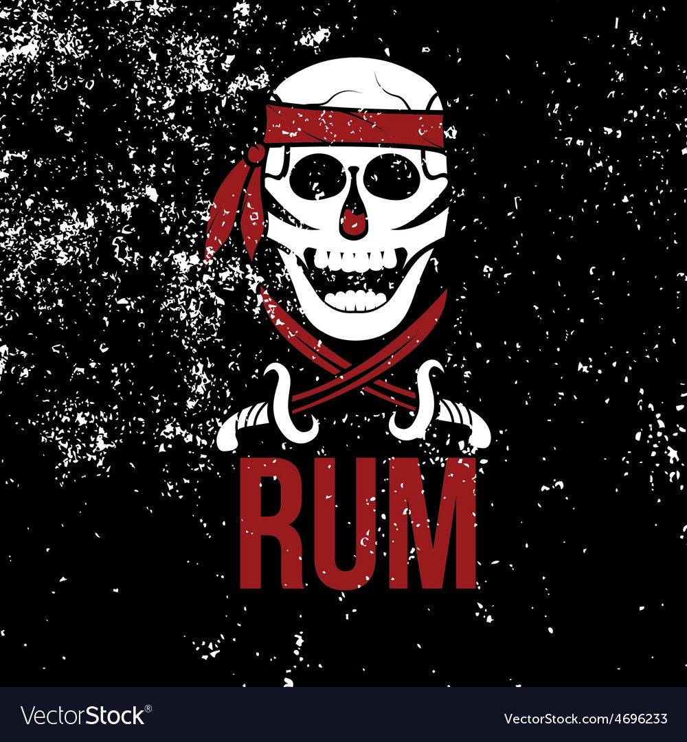 Jolly roger rum on grunge background vector | Price: 1 Credit (USD $1)