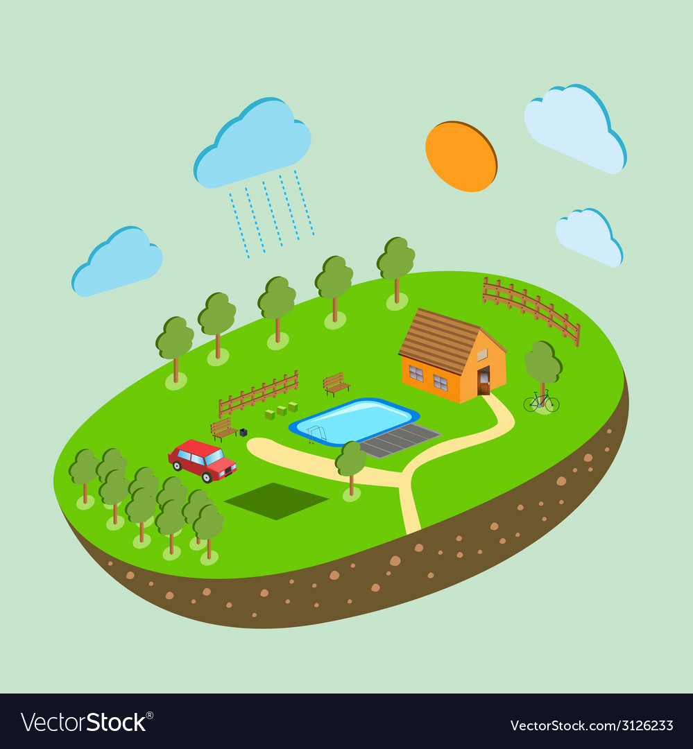 Piece of land and sky with objects vector | Price: 1 Credit (USD $1)