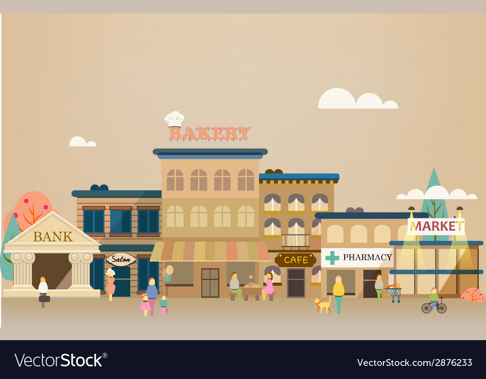 Set buildings of small business flat design vector | Price: 1 Credit (USD $1)