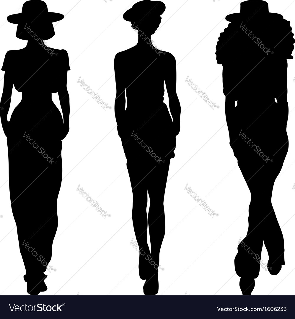 Silhouette of fashion girls top models vector | Price: 1 Credit (USD $1)