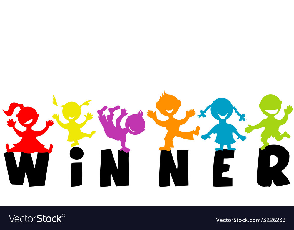 With word winner and happy children silhouettes vector | Price: 1 Credit (USD $1)