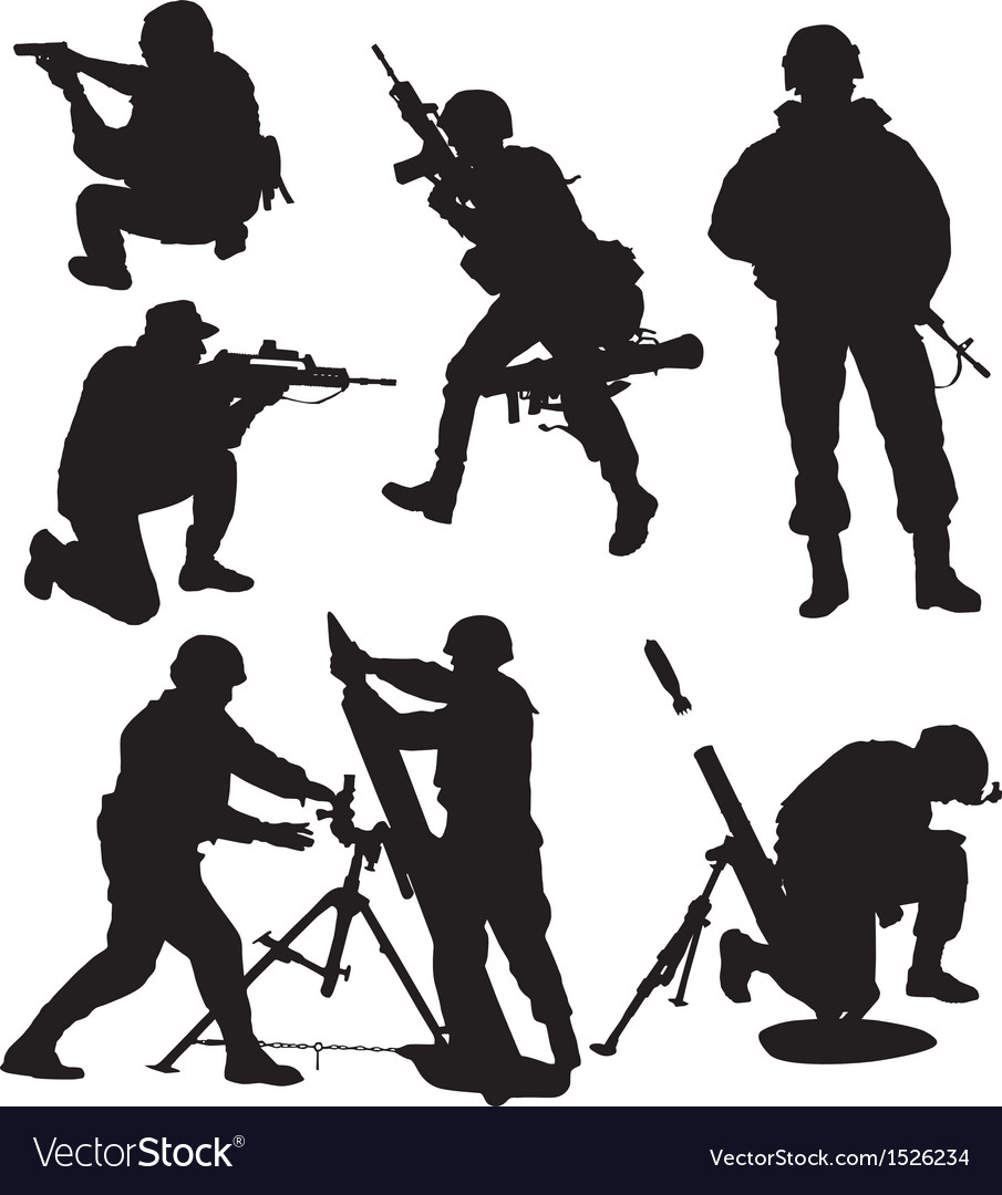 Armed soldier silhouette vector | Price: 1 Credit (USD $1)