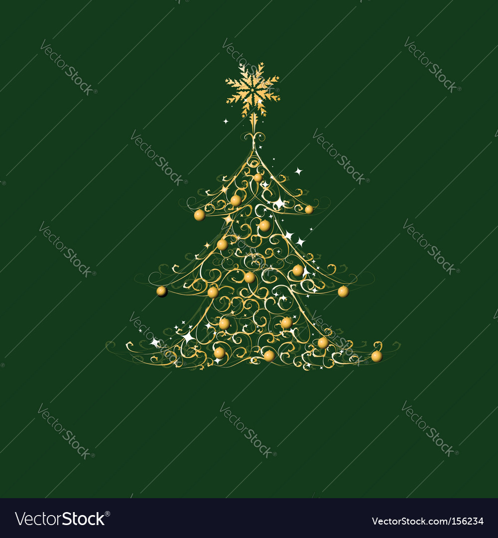Christmas tree golden ornament vector | Price: 1 Credit (USD $1)