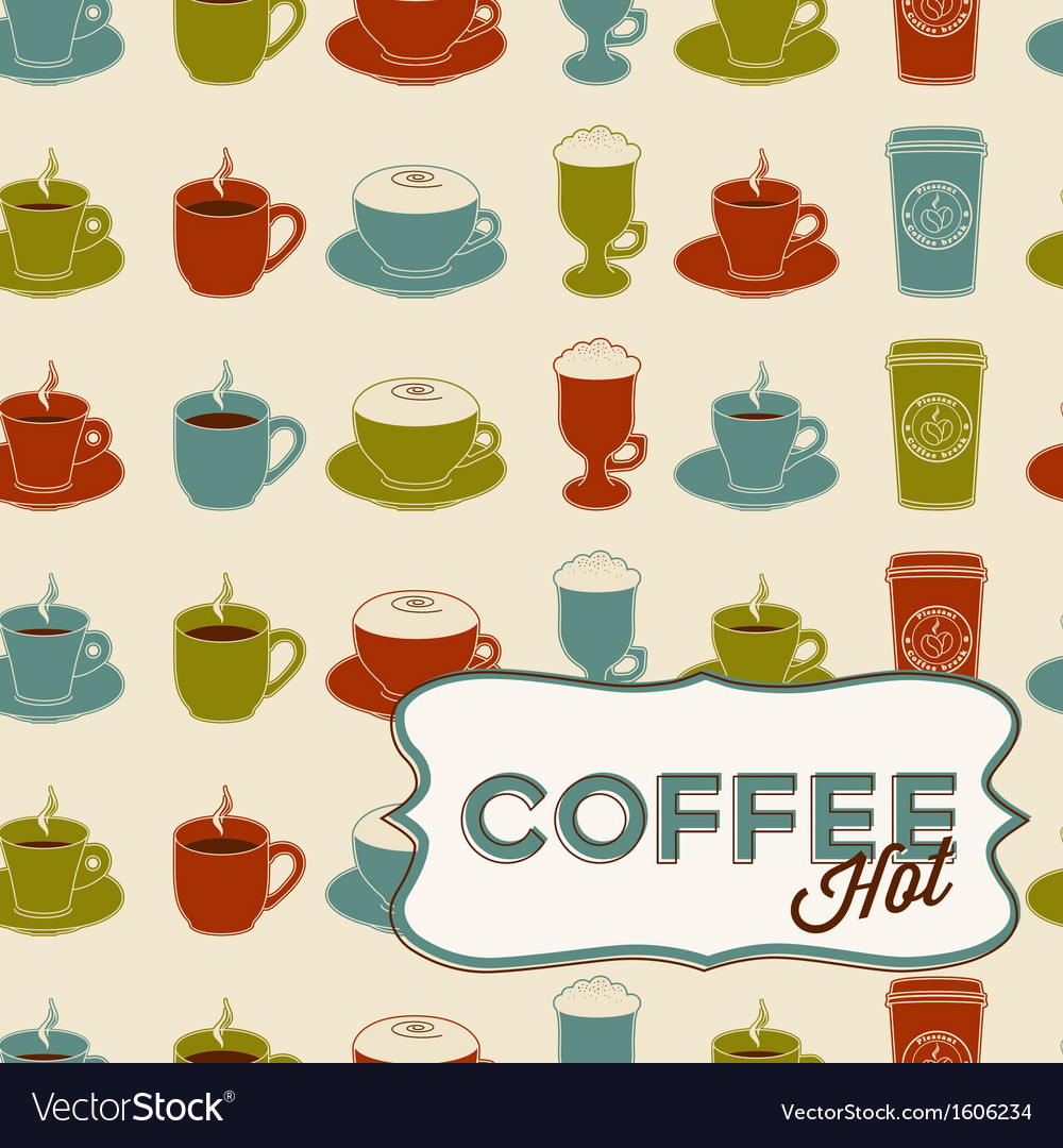 Coffee cup seamless pattern with tag vintage style vector | Price: 1 Credit (USD $1)