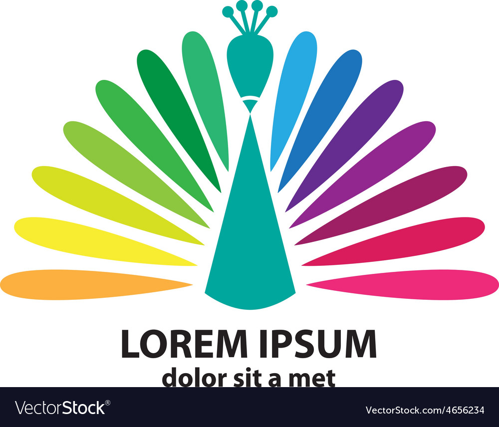 Colored stylized silhouette of a peacock vector | Price: 1 Credit (USD $1)