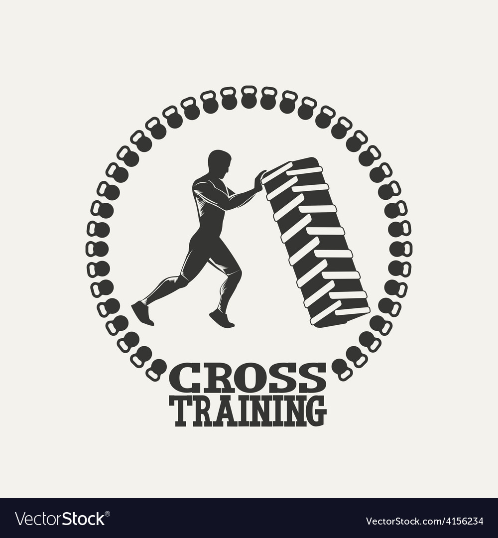 Cross training man silhouet logo vector | Price: 1 Credit (USD $1)