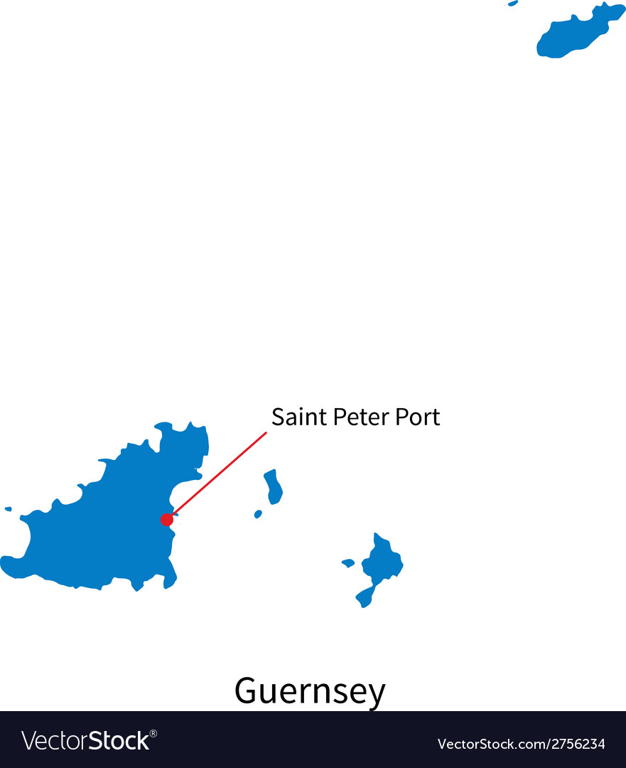 Detailed map of guernsey and capital city saint vector | Price: 1 Credit (USD $1)